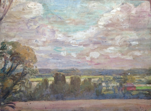 Vanessa Bell, painting, view of Sussex Weald from VB's studio, oil on wood, © Charleston Trust